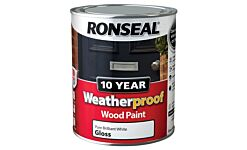 Ronseal 10 year Weatherproof Wood Paint Pure Brillant White Gloss 750ml